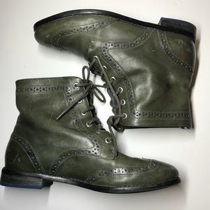 Sperry Kent Oxford Wing Tip Boots Green Size 6 1/2